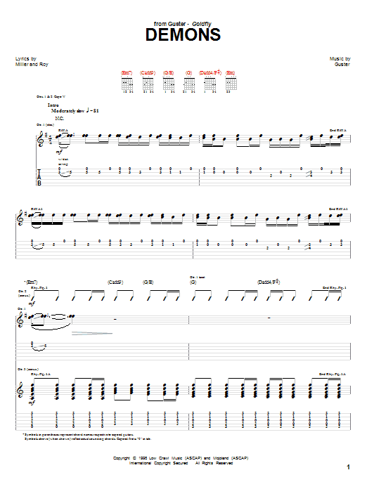 Guitar Instructor Demons by Guster - Guitar Tab