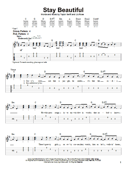 Stay Beautiful sheet music for guitar solo (easy tablature) by Liz Rose