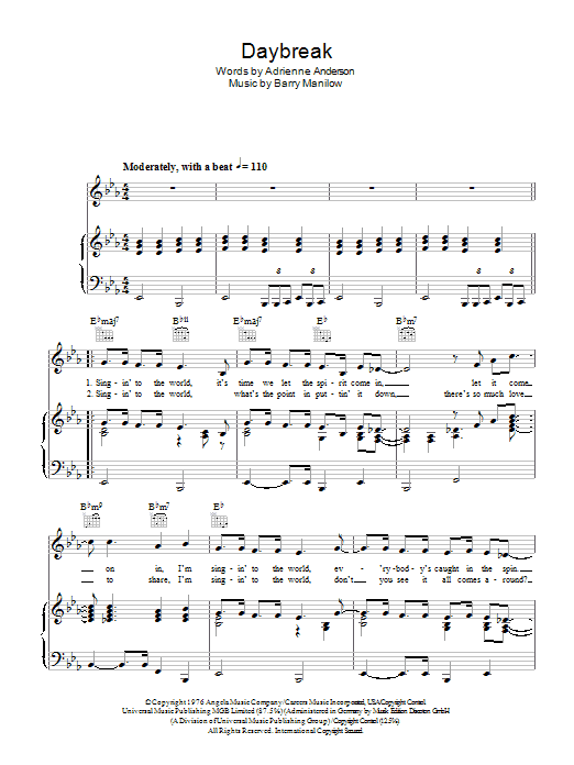 Daybreak sheet music for voice, piano or guitar by Adrienne Anderson