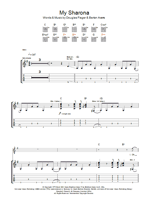 My Sharona sheet music for guitar solo (tablature) by Berton Averre