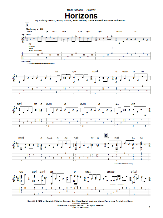 Tablature guitare Horizons de Genesis - Tablature Guitare