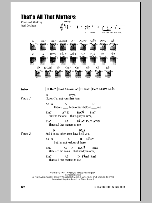 That's All That Matters sheet music for guitar solo (chords, lyrics, melody) by Hank Cochran
