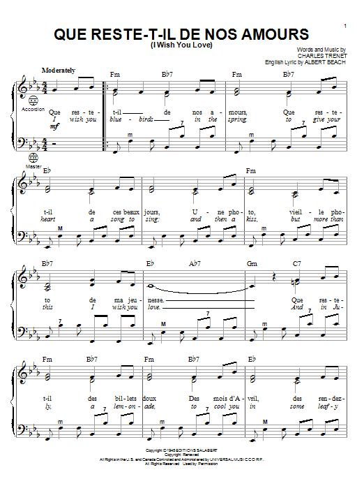 Partition autre Que Reste-T-Il De Nos Amours (I Wish You Love) de Gary Meisner - Accordeon