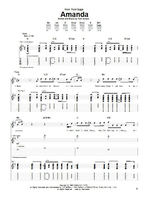Tablature guitare Amanda de Boston - Tablature Guitare