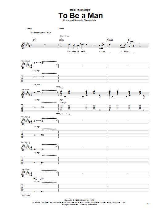 Tablature guitare To Be A Man de Boston - Tablature Guitare