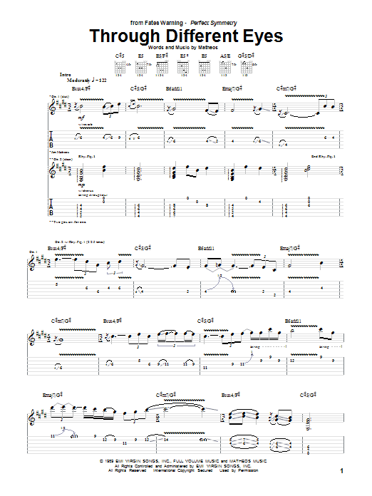 Through Different Eyes sheet music for guitar solo (tablature) by Jim Matheos