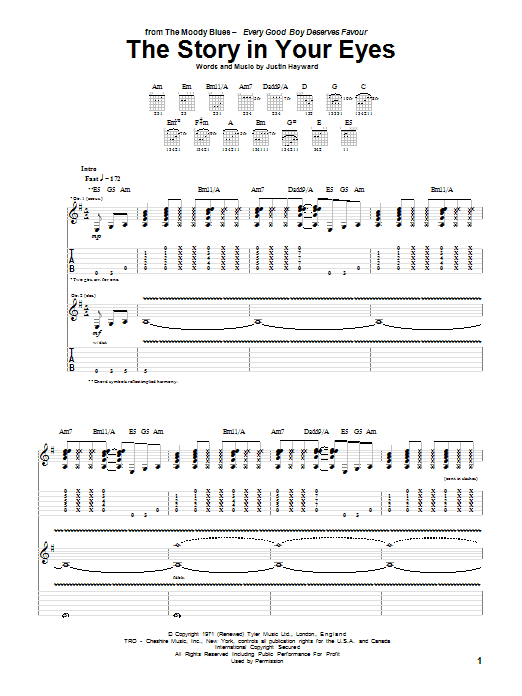 Tablature guitare The Story In Your Eyes de The Moody Blues - Tablature Guitare