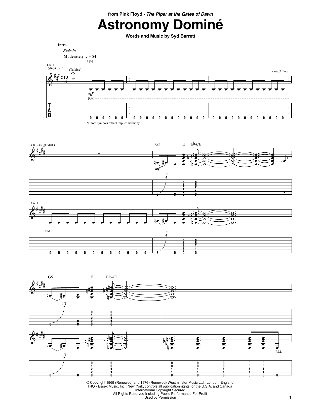 Astronomy Domine sheet music for guitar solo (tablature) by Syd Barrett