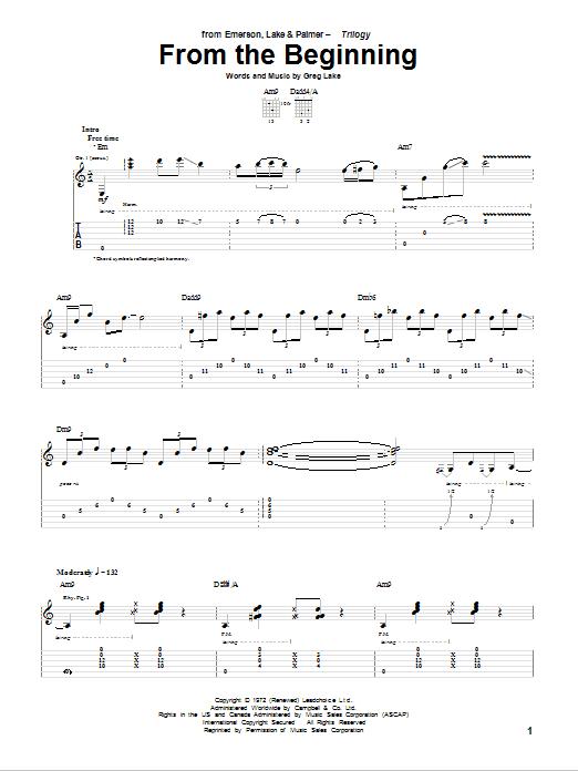 Tablature guitare From The Beginning de Emerson, Lake & Palmer - Tablature Guitare