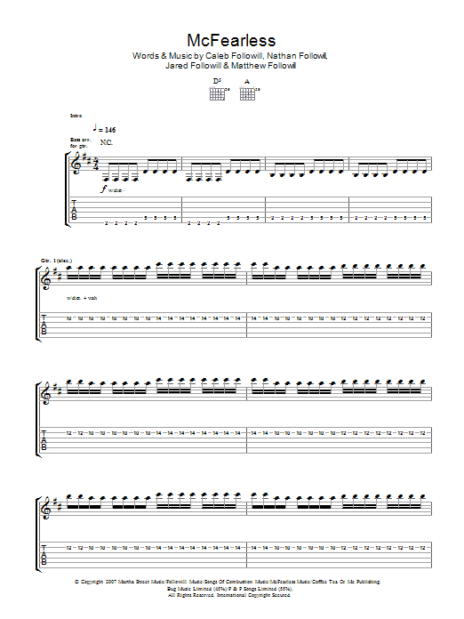 McFearless sheet music for guitar solo (tablature) by Caleb Followill