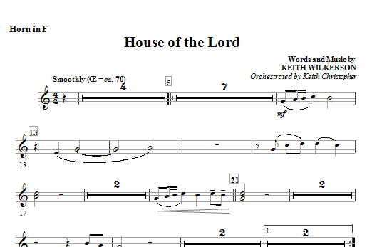 House of the lord f horn sheet music direct for Instrumental house music
