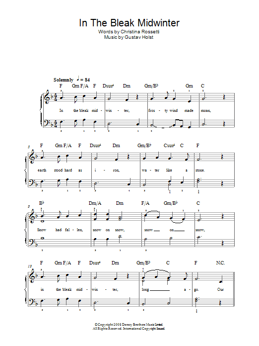 In The Bleak Midwinter sheet music for piano solo (chords) by Christina Rossetti