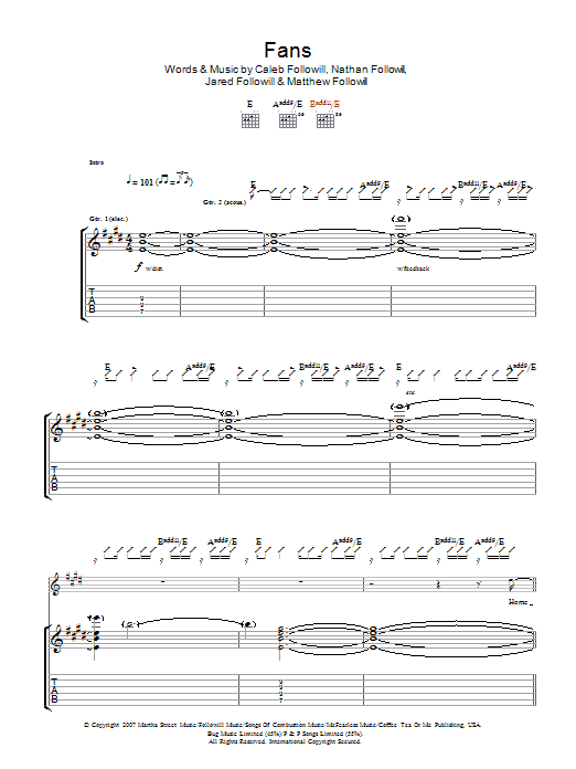 Fans sheet music for guitar solo (tablature) by Caleb Followill