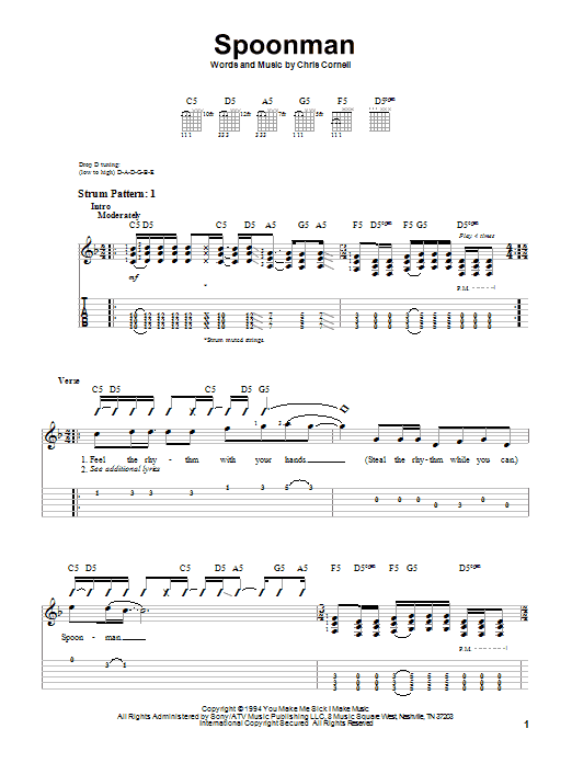 Spoonman sheet music for guitar solo (easy tablature) by Chris Cornell