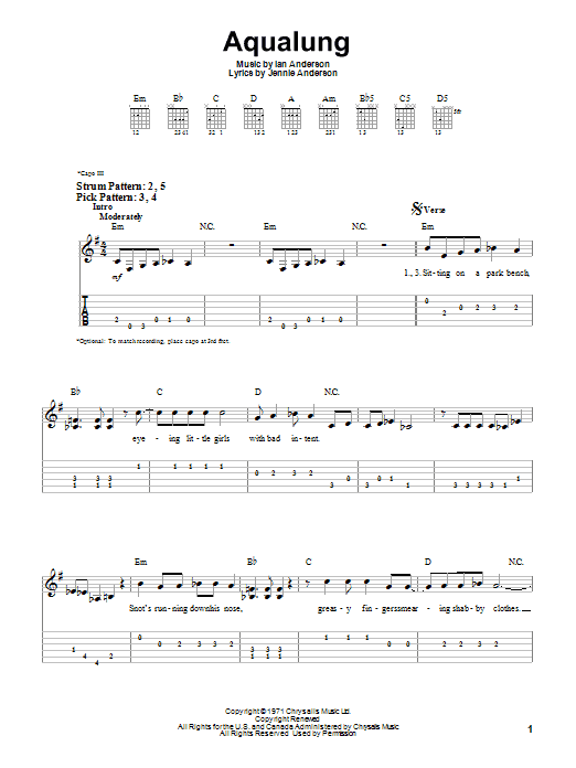 Aqualung sheet music for guitar solo (easy tablature) by Jennie Anderson