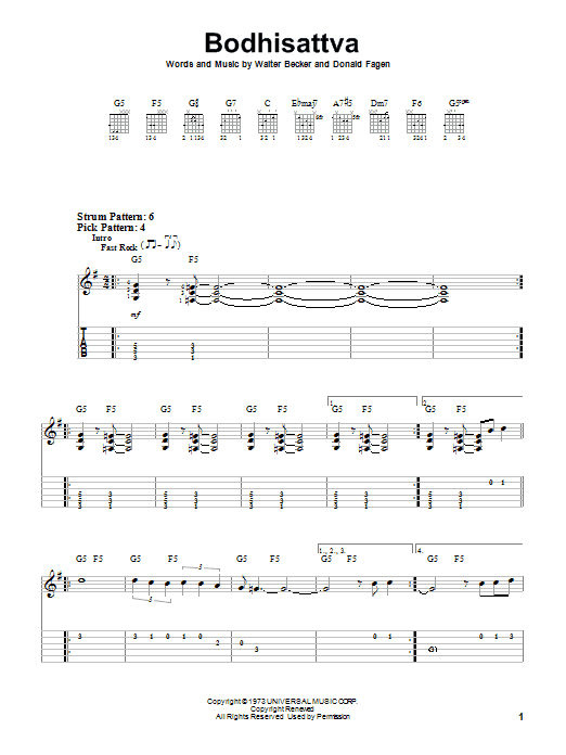 Tablature guitare Bodhisattva de Steely Dan - Tablature guitare facile
