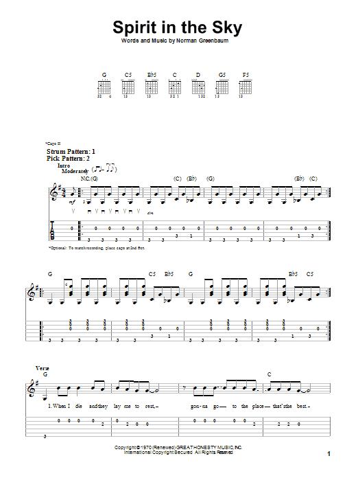 Tablature guitare Spirit In The Sky de Norman Greenbaum - Tablature guitare facile