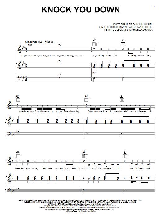 Partition piano Knock You Down de Keri Hilson featuring Kanye West & Ne-Yo - Piano Voix Guitare (Mélodie Main Droite)
