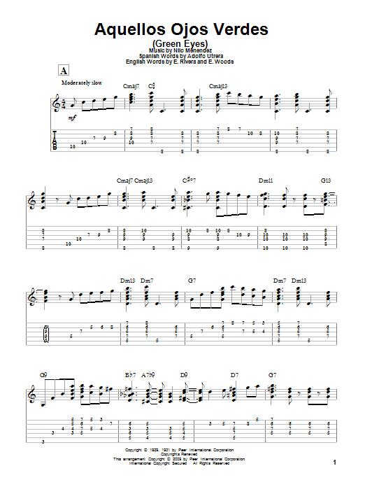 Tablature guitare Aquellos Ojos Verdes (Green Eyes) de Nilo Menendez - Tablature Guitare