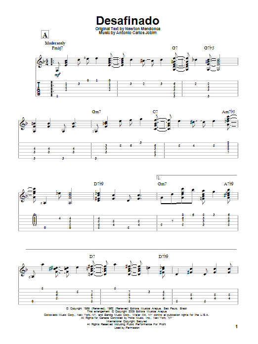 Tablature guitare Desafinado de Antonio Carlos Jobim - Tablature Guitare