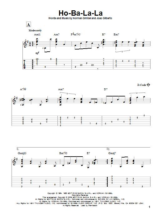 Ho-Ba-La-La sheet music for guitar solo by Joao Gilberto