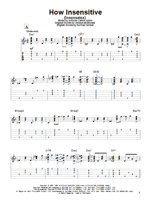 Tablature guitare How Insensitive (Insensatez) de Antonio Carlos Jobim - Tablature Guitare