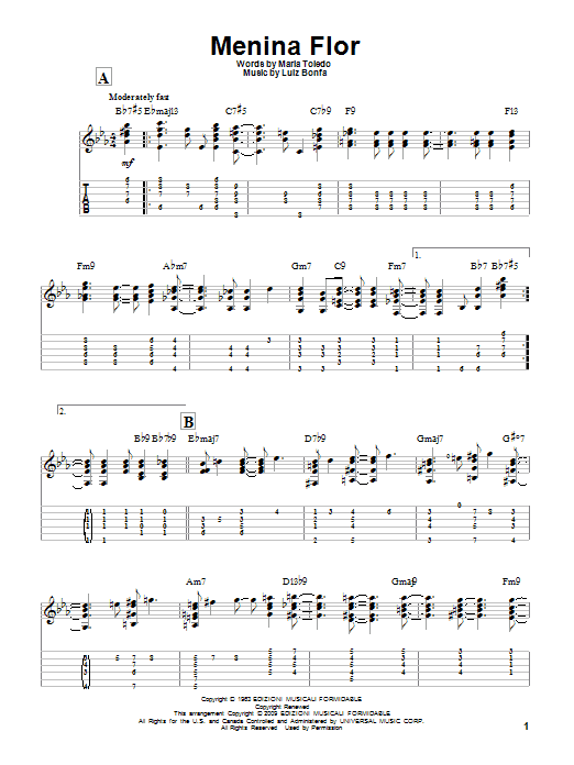 Tablature guitare Menina Flor de Luiz Bonfa - Tablature Guitare