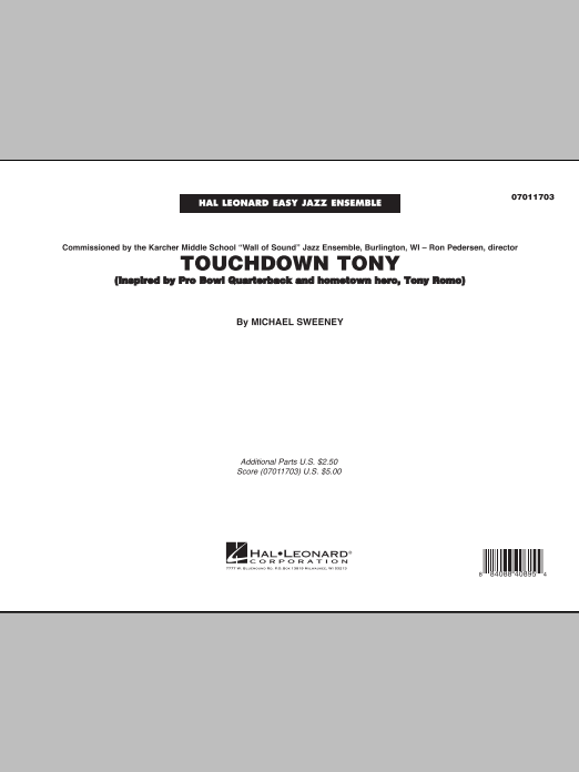 Touchdown Tony (COMPLETE) sheet music for jazz band by Michael Sweeney