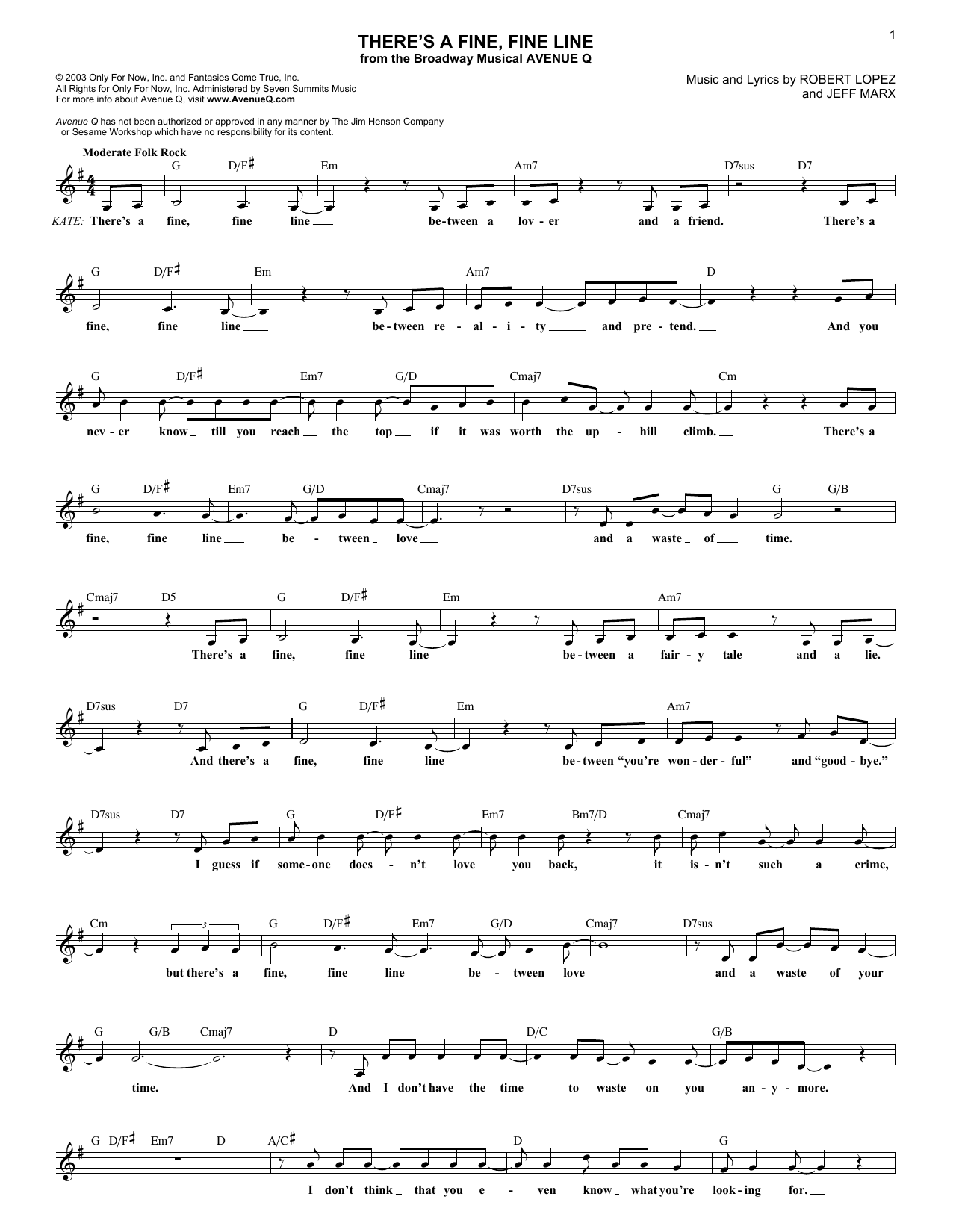 There's A Fine, Fine Line sheet music for voice and other instruments (fake book) by Robert Lopez