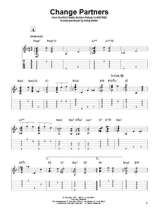 Tablature guitare Change Partners de Irving Berlin - Tablature Guitare