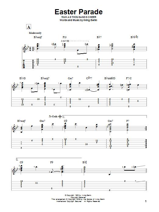 Tablature guitare Easter Parade de Irving Berlin - Tablature Guitare