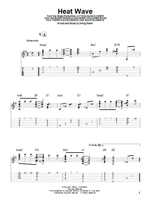 Tablature guitare Heat Wave de Irving Berlin - Tablature Guitare