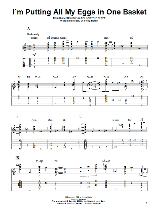 Tablature guitare I'm Putting All My Eggs In One Basket de Irving Berlin - Tablature Guitare