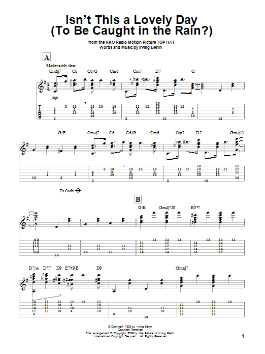 Tablature guitare Isn't This A Lovely Day (To Be Caught In The Rain?) de Irving Berlin - Tablature Guitare