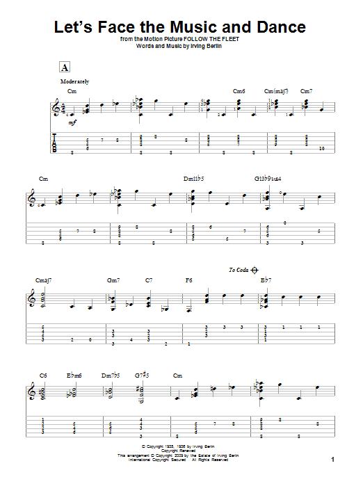 Tablature guitare Let's Face The Music And Dance de Irving Berlin - Tablature Guitare