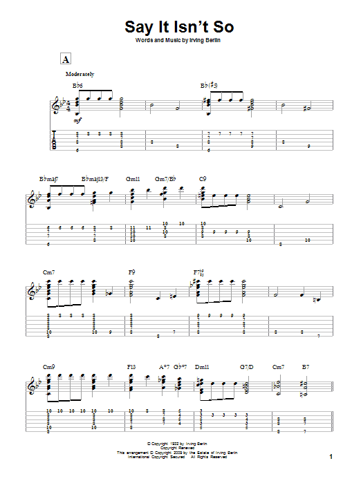 Tablature guitare Say It Isn't So de Irving Berlin - Tablature Guitare