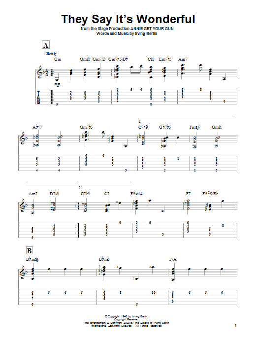 Tablature guitare They Say It's Wonderful de Irving Berlin - Tablature Guitare