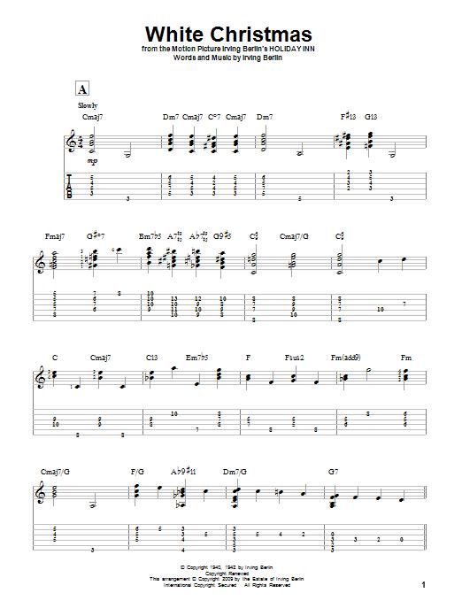 Tablature guitare White Christmas de Irving Berlin - Tablature Guitare