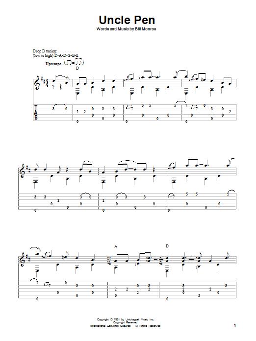 Tablature guitare Uncle Pen de Bill Monroe - Tablature Guitare