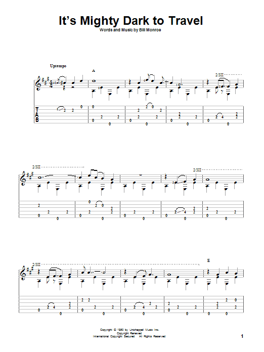 Tablature guitare It's Mighty Dark To Travel de Bill Monroe - Tablature Guitare