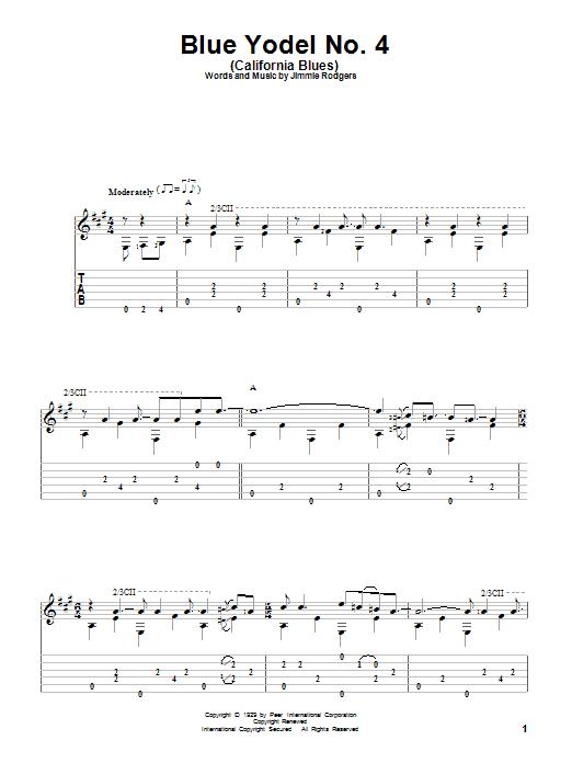Tablature guitare Blue Yodel No. 4 (California Blues) de Jimmie Rodgers - Tablature Guitare