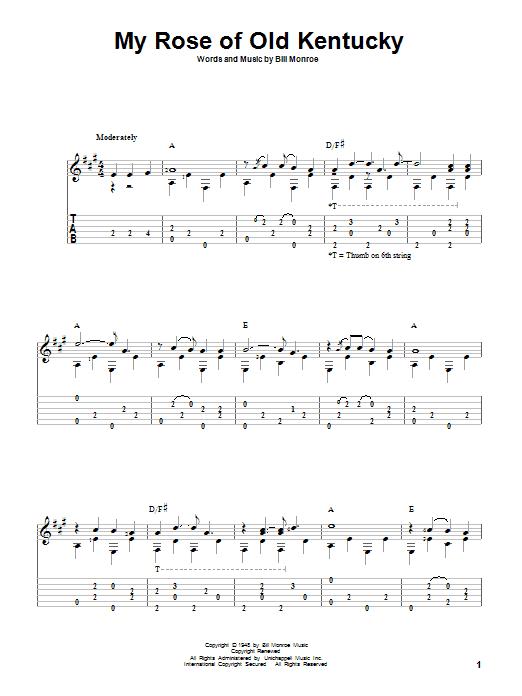 Tablature guitare My Rose Of Old Kentucky de Bill Monroe - Tablature Guitare