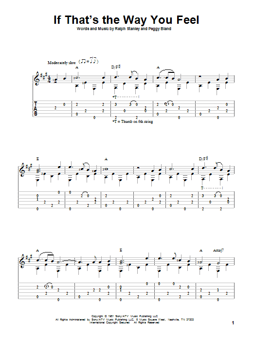Tablature guitare If That's The Way You Feel de Ralph Stanley - Tablature Guitare