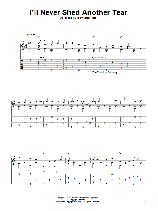 Tablature guitare I'll Never Shed Another Tear de Lester Flatt - Tablature Guitare