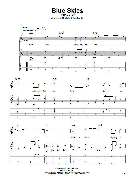 Tablature guitare Blue Skies de Irving Berlin - Tablature Guitare