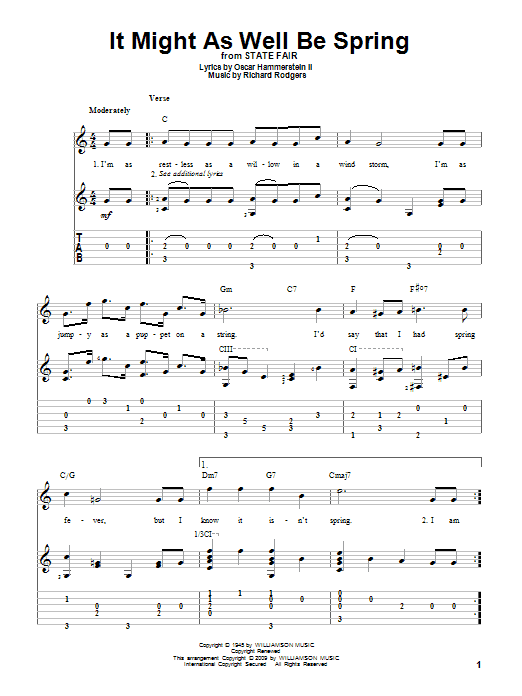 Tablature guitare It Might As Well Be Spring de Rodgers & Hammerstein - Tablature Guitare