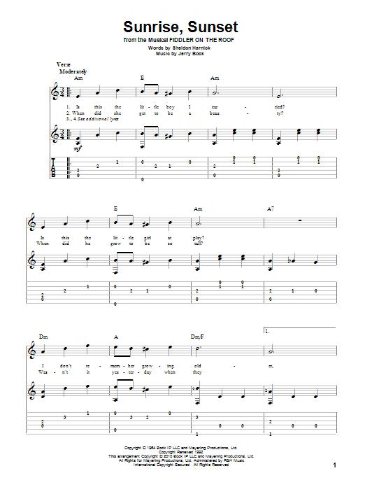 Tablature guitare Sunrise, Sunset de Bock & Harnick - Tablature Guitare