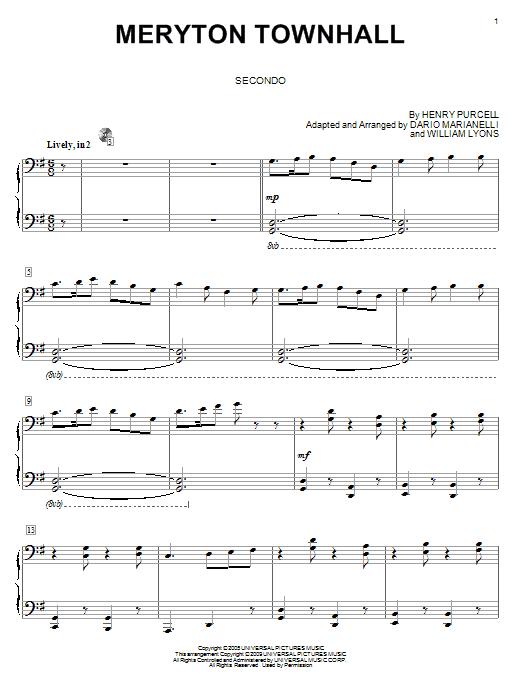 Partition piano Meryton Townhall de Dario Marianelli - 4 mains