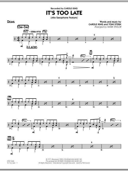 It's Too Late (Alto Saxophone Feature) (COMPLETE) sheet music for jazz band by Toni Stern