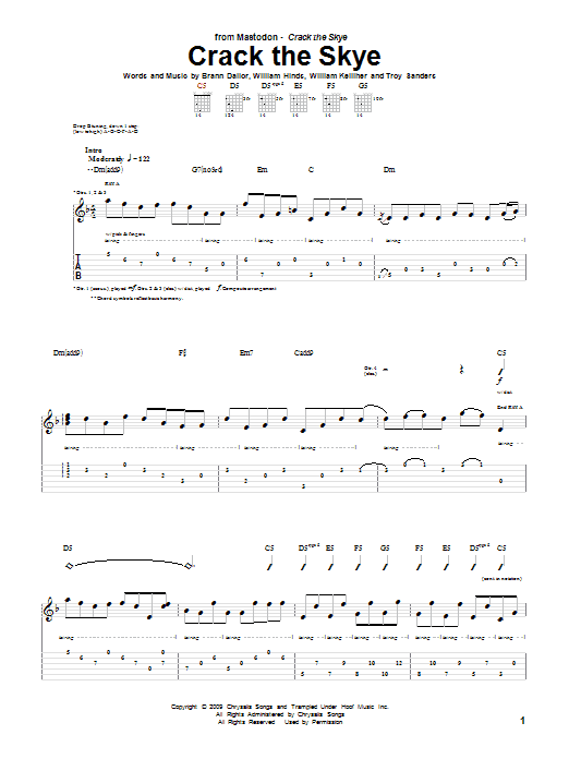 Crack The Skye sheet music for guitar solo (tablature) by William Kelliher